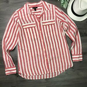 JCREW | sz 4 red stripe linen button down shirt